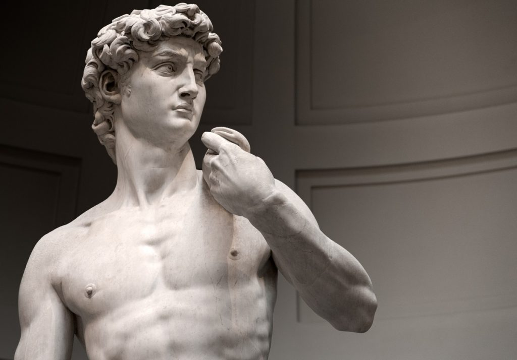 Statue of David from the chest up